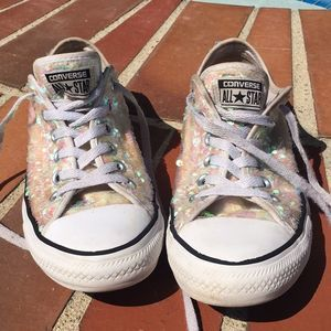 Converse Low Blush Pink Rose Gold Sequin Size 8